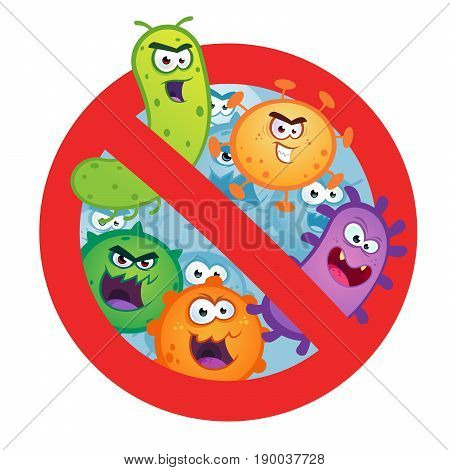 Antibacterial sign with germ, bacteria, virus. Vector illustration