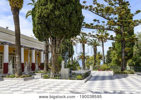 GASTOURI, GREECE - MAY 15: Achilleion palace on May 15, 2017 in Gastouri, Corfu island in Greece. Achilleion was the summer palace of empress Elisabeth of Austria, also known as Sisi.