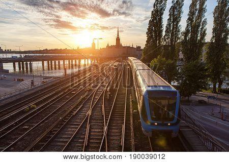 Train On The Bridge In Stockholm