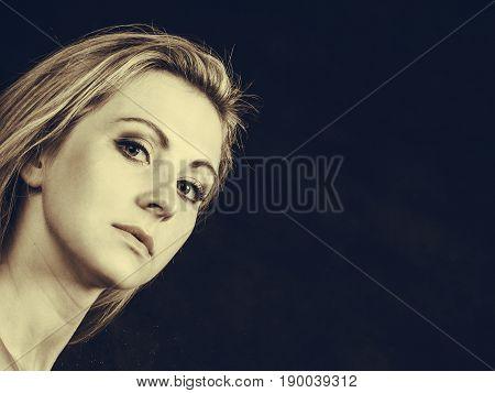 Elegance feminity lady beauty concept. Portrait of beautiful dreaming elegant woman in sepia