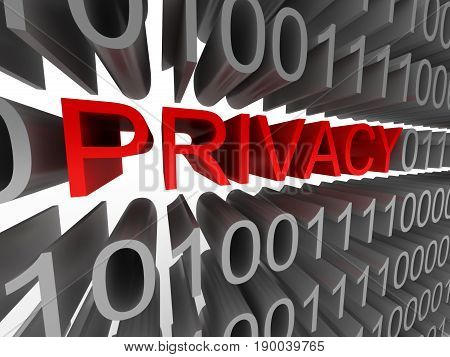 Privacy in the form of binary code isolated on white background. High quality 3d render.