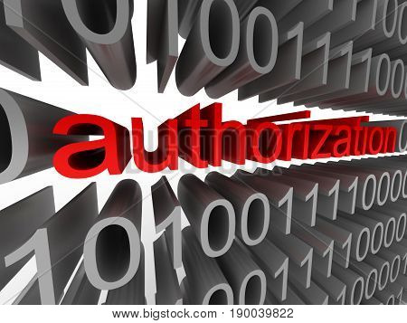 Authorization in the form of binary code isolated on white background. High quality 3d render.