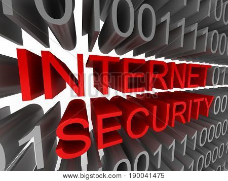 Internet security in the form of binary code isolated on white background. High quality 3d render.