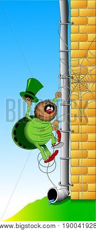 Cheerful spider in a green suit and hat rises on the wall