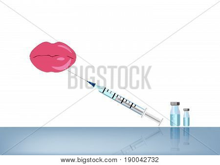 Lip fillers injection , vector isolated .