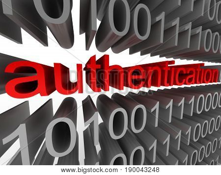 Authentication in the form of binary code isolated on white background. High quality 3d render.
