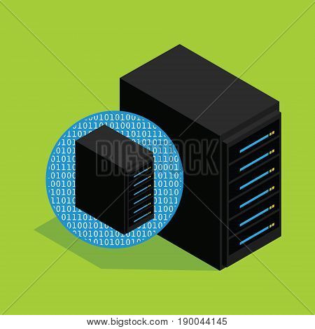 vps virtual private server hosting and database vector illustration