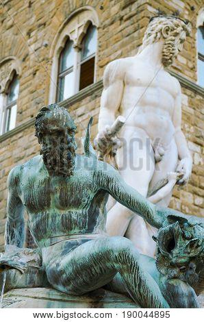 Bronze statue detail of Neptune Fountain in Florence, situated on the Piazza della Signoria, sculptor Bartolomeo Ammannati 1563-1565.