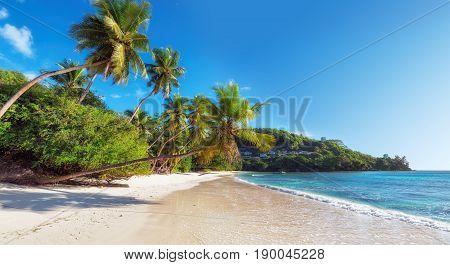 Anse Takamaka beach on Mahe island, Seychelles, Panorama.
