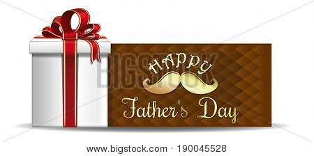 Fathers Day card. Gift box on the background of a greeting card. Gold lettering on a brown background - Happy Fathers Day. Vector illustration