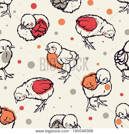 Seamless pattern with little chicken. Poultry. Farming. Livestock raising. Hand drawn. Vector illustration.