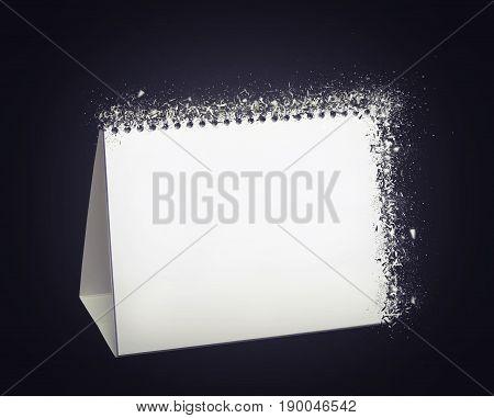 Blank white desk calendar for template exploding
