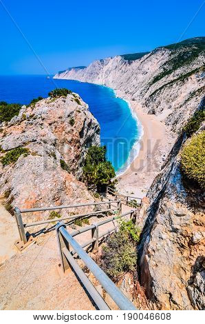 Famous Platia Ammos beach in Kefalonia island, Greece. The beach was affected by the earthquake in the spring of 2014 and it is very difficult to go down on the beach.