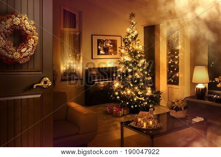 Opened door reveals warm feeling living room with Christmas tree and presents