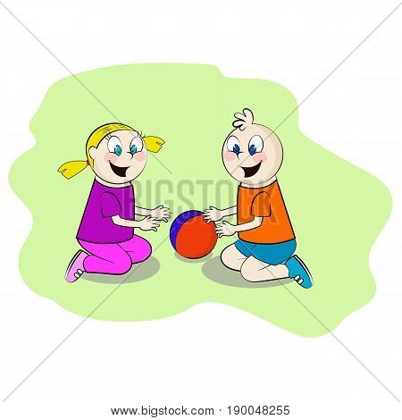 Children playing in the sandbox, vector illustration