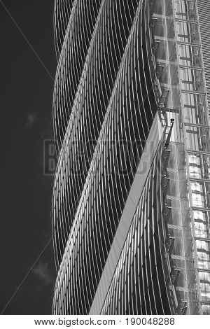 MILAN, ITALY - APRIL 17, 2017: Milan (Lombardy Italy): the skyscraper known as Allianz Tower in the new Citylife area (Tre Torri). Black and white