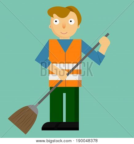 Profession Street Cleaner Primitive Cartoon Style Isolated Flat Vector Illustration On Green Background