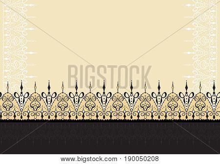 Ornate vector card template in Indian mehndi style. Hand drawn abstract background. Can be used for invitation cards textile with mehndi elements. Islam arabic indian ottoman motifs.