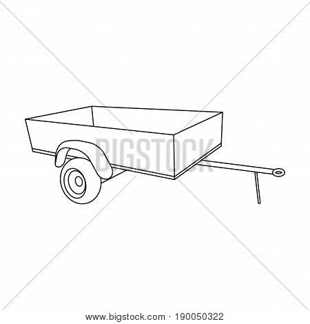 Trailer with sides for the car.Car single icon in outline style vector symbol stock illustration .