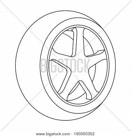 Wheel with a tire cover for the car.Car single icon in outline style vector symbol stock illustration .