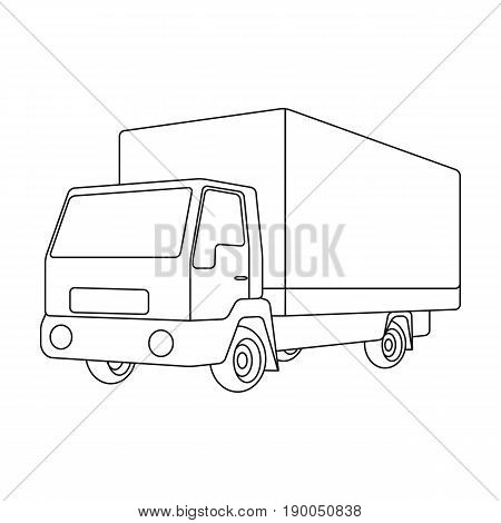 Truck with awning.Car single icon in outline style vector symbol stock illustration .