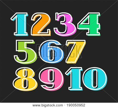 Colored numbers, white outline, black background, vector.  Flat figures, the thin white outline is offset to the side.