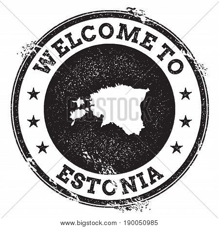 Vintage Passport Welcome Stamp With Estonia Map. Grunge Rubber Stamp With Welcome To Estonia Text, V