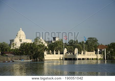 View Landscape And Riverside With Building Roman Style At Riverside Of Mae Klong River