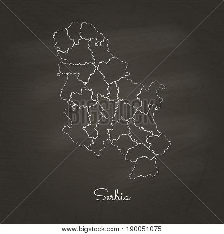 Serbia Region Map: Hand Drawn With White Chalk On School Blackboard Texture. Detailed Map Of Serbia