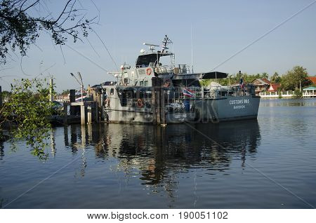 Patrol Boat Of Marine Police Or Water Polices Stop Rest And Waiting For Working In Night Time At Mae