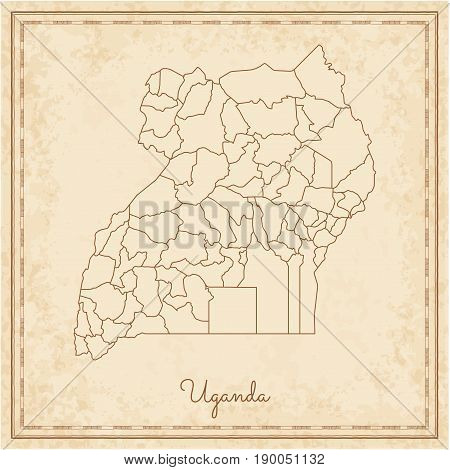 Uganda Region Map: Stilyzed Old Pirate Parchment Imitation. Detailed Map Of Uganda Regions. Vector I