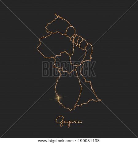 Guyana Region Map: Golden Glitter Outline With Sparkling Stars On Dark Background. Detailed Map Of G