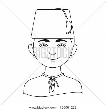 Turk..Human race single icon in outline style vector symbol stock illustration .