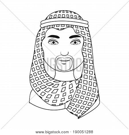 Arab.Human race single icon in outline style vector symbol stock illustration .