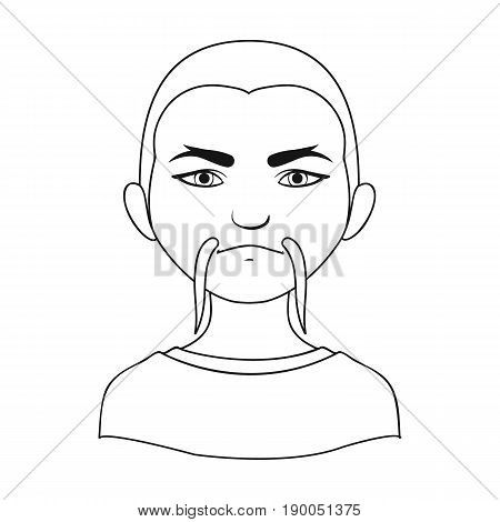 Chinese.Human race single icon in outline style vector symbol stock illustration .
