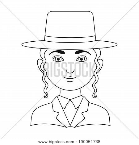 Jew.Human race single icon in outline style vector symbol stock illustration .