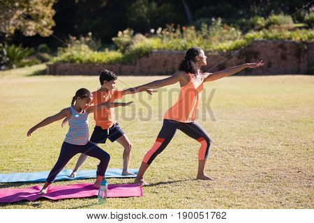 Young female trainer with children practicing Virabhadrasana II pose at park