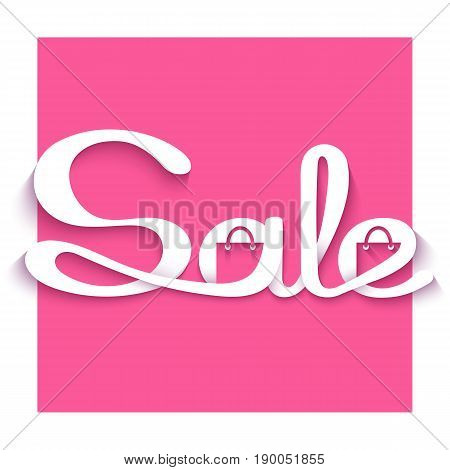 Sale banner with calligraphic inscription. Vector illustration made in paper cut out style.