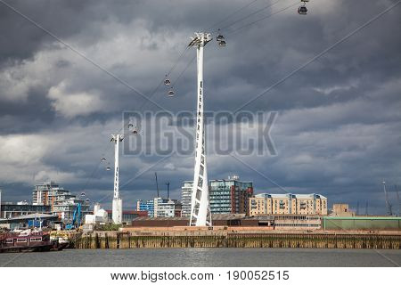 Emirates Air Line cable car in North Greenwich, London