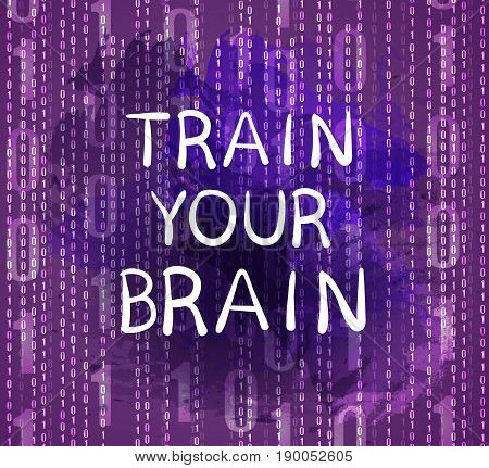 'Train your brain' text on purple background with numbers, VECTOR hand drawn letters, violet background