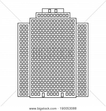 High-rise building, skyscraper, Realtor single icon in outline style vector symbol stock illustration .