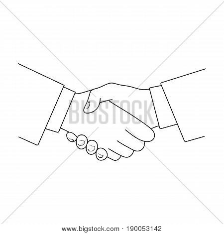 Handshake.Realtor single icon in outline style vector symbol stock illustration .