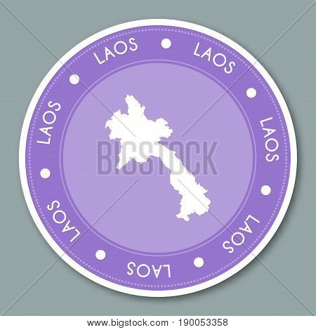 Lao People's Democratic Republic Label Flat Sticker Design. Patriotic Country Map Round Lable. Count