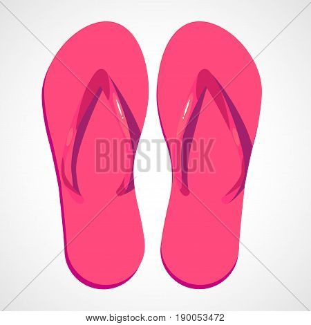 Two swimwear sandles isolated on white background. Cartoon pink beach slippers poster