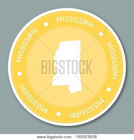Mississippi Label Flat Sticker Design. Patriotic Us State Map Round Lable. Round Badge Vector Illust