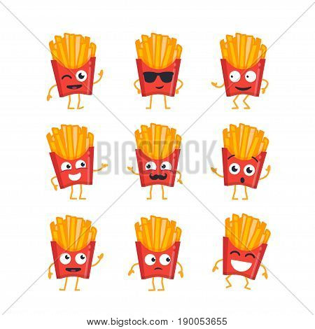 French Fries Cartoon Character - modern vector set of mascot illustrations - dancing, smiling, having a good time. Emoticons, emotions, giggle, coolness, surprise, blinking
