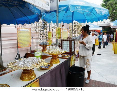 Thai Women And Travelers People Visit And Respect Pray Buddha Statue At Wat Phra Pathommachedi