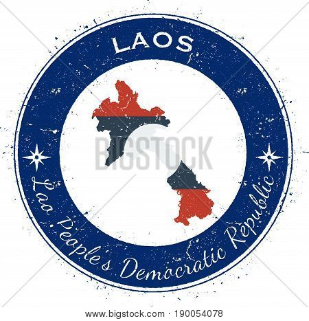 Lao People's Democratic Republic Circular Patriotic Badge. Grunge Rubber Stamp With National Flag, M