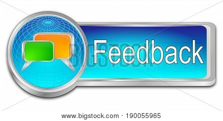 decorative glossy blue Feedback button - 3D illustration
