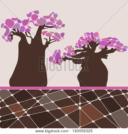 Colorful background with tree baobab and pink leafs